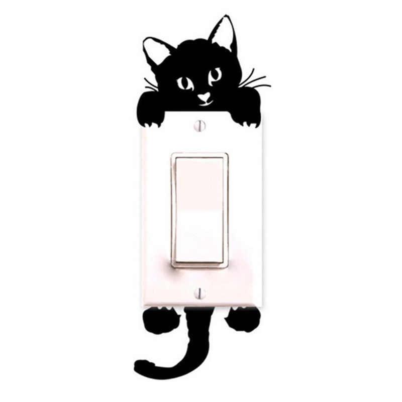 זוהר מתג מדבקת בית תפאורה שחור-אור קריקטורה זוהר קיר מדבקות חתול חמוד Creative קישוט מדבקה
