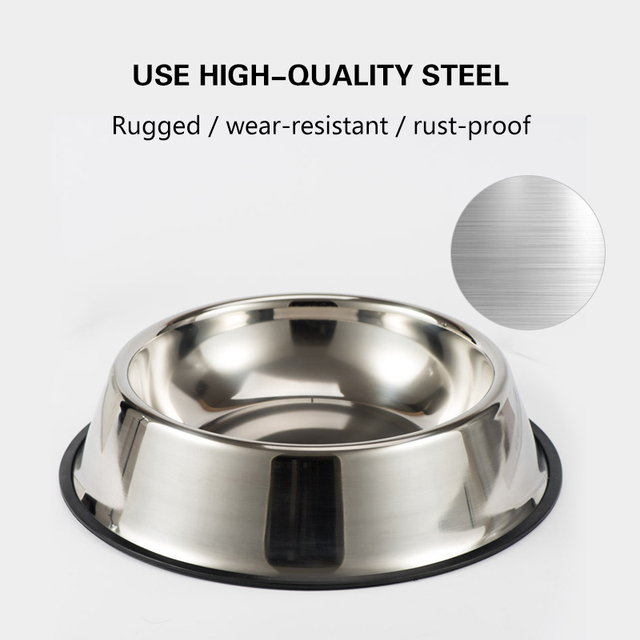 Dog Cat Bowls Stainless Steel Non-slip Durable Anti-fall Dogs Feeding Bowls for Small Medium Dogs Cat Placemat Feeder Pet 4