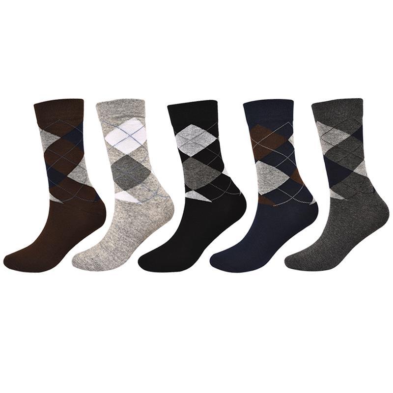 Men's Plaid Cotton Socks Cotton Comfortable Fashion Casual Business Socks Autumn Winter Men's Socks
