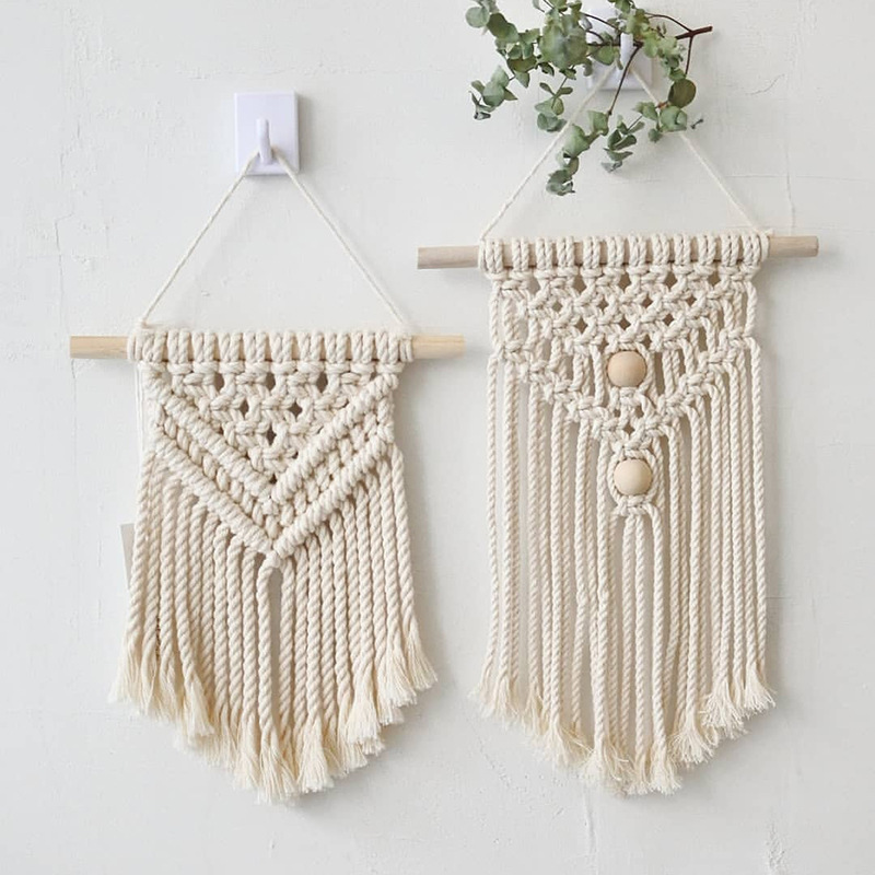 Nordic Macrame Wall Hanging Hand-woven Cotton Small Wall Tapestry Children's Room Headboard Photo Props Boho Decor