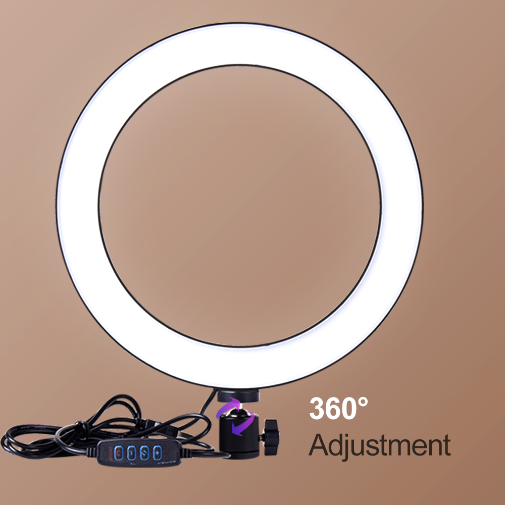 Label - LED Makeup Light Ring 5500K Dimmable Photographic Lighting With Tripod Stand LED Lamps Selfie Phone Ring Light For Video Camera