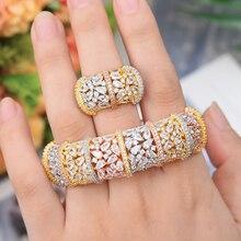 GODKI Luxe Ginkgo Blad Nigeria Bangle Ring Set Sieraden Set Voor Vrouwen Wedding Kubieke Zirkoon Crystal CZ Dubai Bruids Sieraden sets