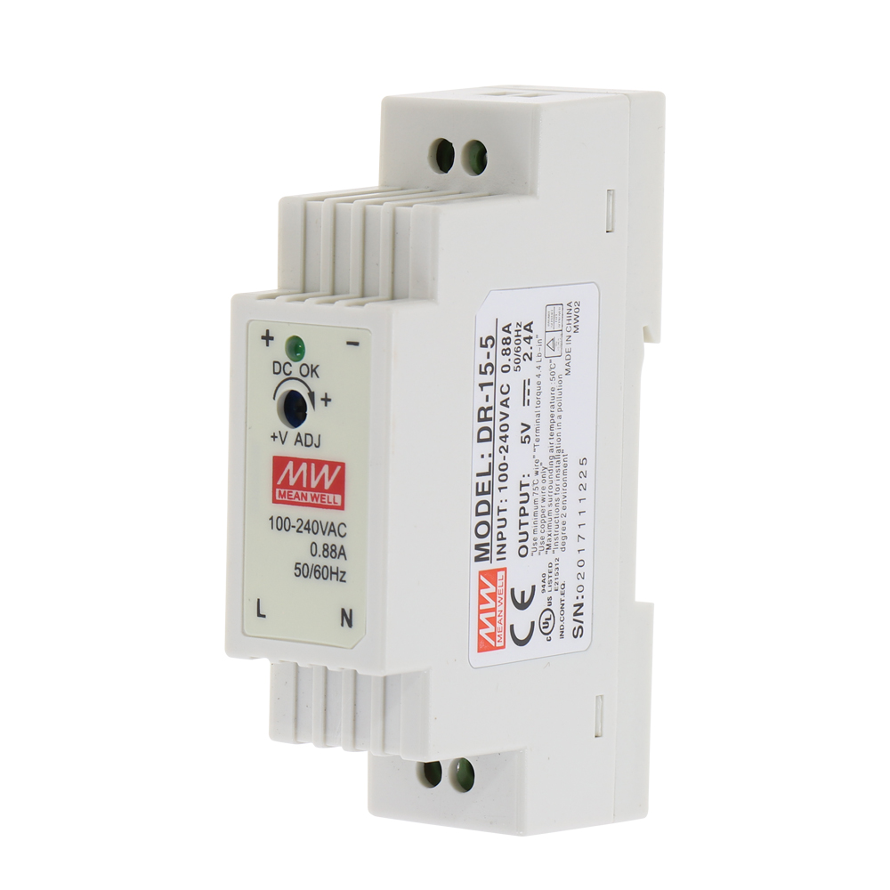 DR-15 15W Single Output <font><b>5V</b></font> 12V 15V 24V Industrial Din Rail Switching <font><b>Power</b></font> <font><b>Supply</b></font> DR-15-5 DR-15-12 DR-15-15 DR-15-24 image