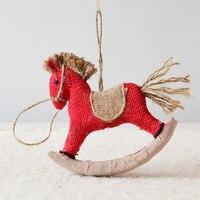 عيد الميلاد ساكالقماش طروادة صغيرة الحصان قلادة الديكور هدية شجرة عيد الميلاد عيد الميلاد الحلي ديكور حفلة نافيداد السنة الجديدة 2019