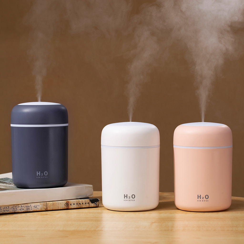 300ml Mini Air Humidifier Electric Air Diffuser Aroma Oil Diffuser USB Cool Mist Sprayer with Night Light for Home Office Car