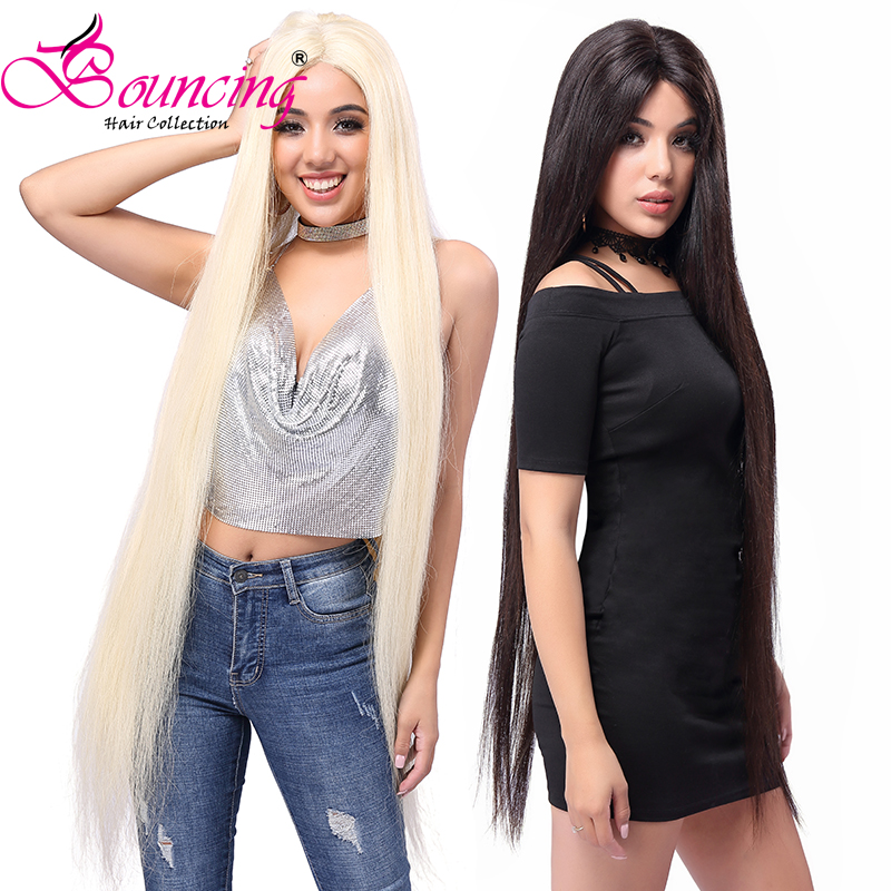 Bouncing Straight Long 40 Inch 250% Density 13x4 Lace Front  Wig Blonde #613 #1B Pre Plucked Baby Hair Brazilian Human Remy Hair