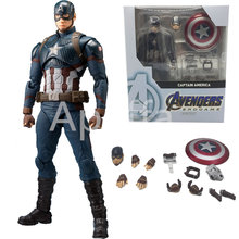 Marvel Anime Shf Marvel Avengers 4 Endgame Captain America Super Hero Pvc Collectible Action Figure Kits(China)
