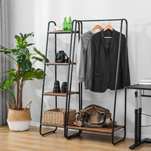 Clothes Rail Metal Coat Stands with Shoe Rack Storage Cabinet Wardrobe 4 Tiers Ladder Bookshelf Shelving Unit Vintage Wood