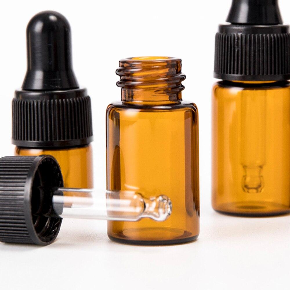 Novo 1/2/3/5/ml recarregável chá árvore óleo essencial aromaterapia perfume recipiente vidro âmbar conta-gotas garrafa de pipeta líquida