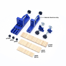 Universal Doweling Jig Set with Aligning Clamps Dowel Pins and Stop Collars blue Stainless steel