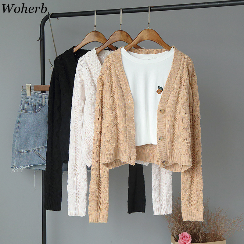 Woherb Long Sleeve Crop Sweater Women Casual Cardigan Autumn 2019 Cute Solid Knitted Jacket Korean Fashion Knitwear Coat <font><b>23002</b></font> image