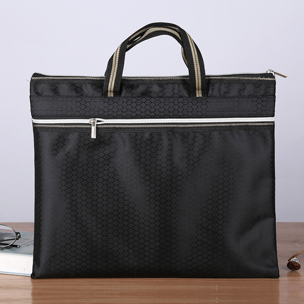 Portable Document Bag Oxford Cloth Waterproof Briefcase Conference Paper Bag Business Double-layer Briefcases Information Bag