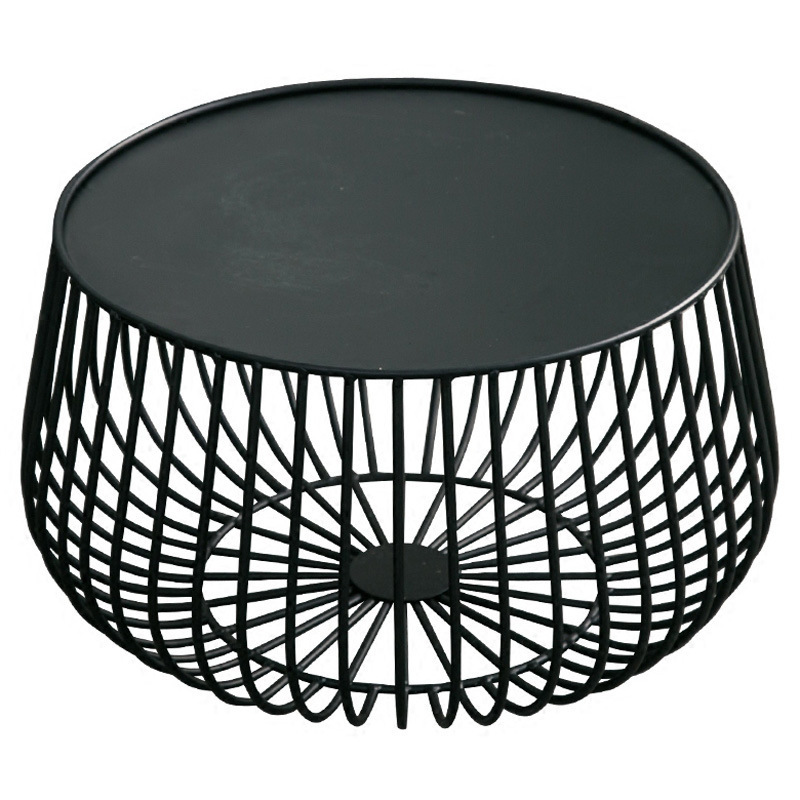 Creative Coffee Table Small Apartment Living Room Golden Iron Round Coffee Table Storage Small Side Table