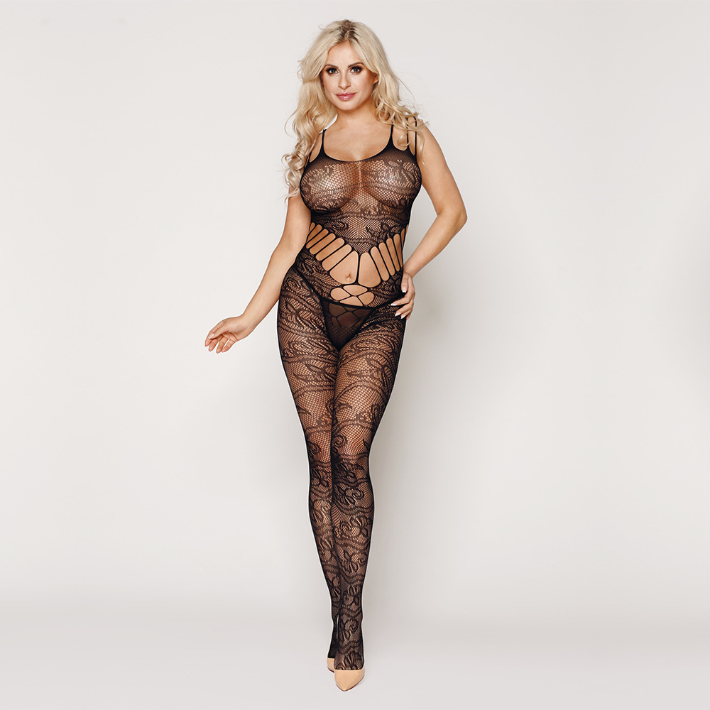 Women <font><b>Sexy</b></font> Erotic <font><b>Lingerie</b></font> <font><b>Intimates</b></font> Teddy Bodystockings Hollow Open Crotch Stocking Fishnet Mesh Erotic Bodysuit Porn Sleepwear image