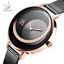 Shengke pulseira de cristal relógios femininos de luxo da marca sk moda senhoras relógio feminino criativo reloj mujer