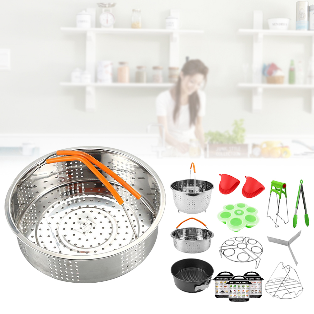 14PCS Non Stick Pressure Cooker Accessories Set Oven Mitts Steamer Basket Eggs Rack Stainless Steel Home Air Fryer Multipurpose