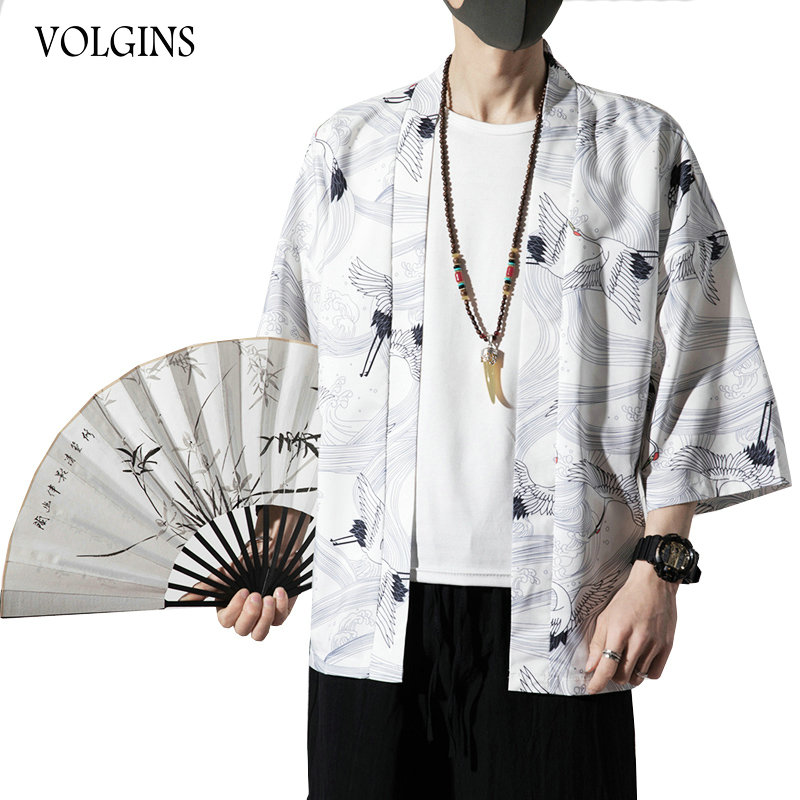 Streetwear Men Summer Kimono Jackets 2020 Printed Vintage Man Cardigan Coats Plus Size Thin Male Jacket Clothes Dropshipping