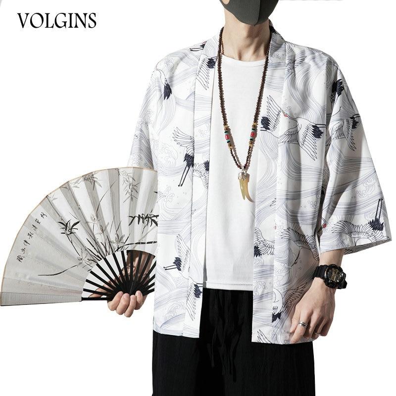 Streetwear Men Summer Kimono Jackets 2020 Printed Vintage Man Cardigan Coats Plus Size Thin Male Jacket Clothes Dropshipping