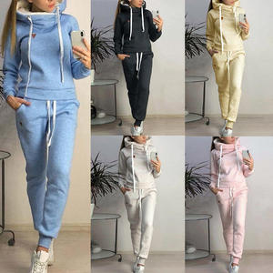 Sweatshirts Tracksuit Sportswear Joggers-Suits Workout-Clothes Running-Set Women Hooded