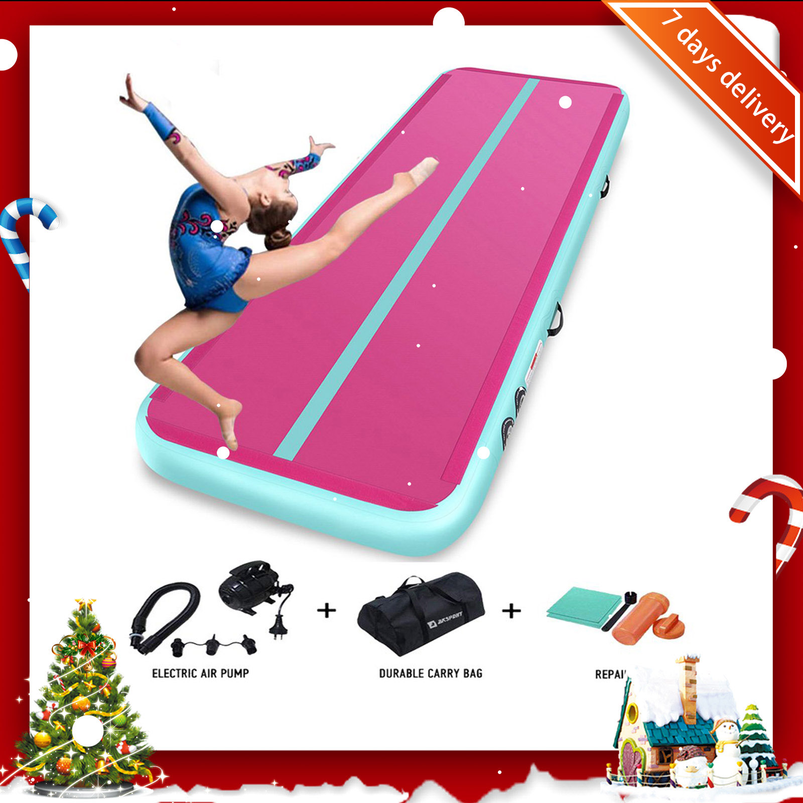 Rimdoc 6M Inflatable Air Track Yoga Olympics Tumbling Airtrack Floor Air Gym Yoga <font><b>Mat</b></font> Electronic Pump for <font><b>Kids</b></font> Christmas Gifts image