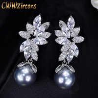 CWWZircons Shiny Zirkonia Einstellung Blatt Form 925 Silber Schlenker Grau Perle Tropfen Ohrringe Schmuck für Frauen Geschenk CZ332