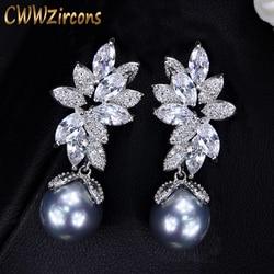 CWWZircons Shiny Cubic Zirconia Setting Leaf Shape 925 Silver Dangling Gray Pearl Drop Earrings Jewelry for Women Gift CZ332