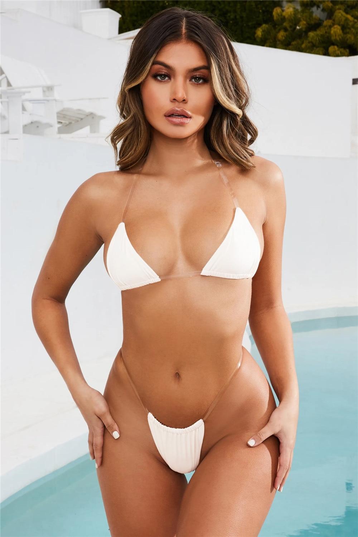 Sexy Bikini Set Swimsuits Solid Color Swimsuits Swimwear Transparent Strap Beach Bralette Swimsuit Bathing Suit Solid Swimwear