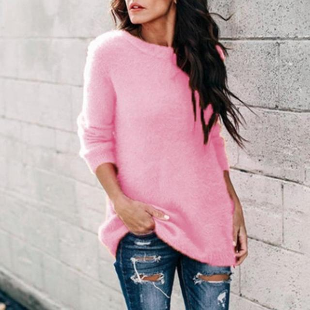 Casual Women Autumn Winter O Neck Long Sleeve Plushy Knitted Pullover Sweater Warm Keeping Clothes For Female Plus Size 5xl