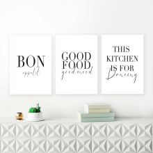 Minimalist Good Food Good Mood Bon Appetit Quotes Canvas Painting Black White Wall Art Poster Print Pictures Kitchen Home Decor