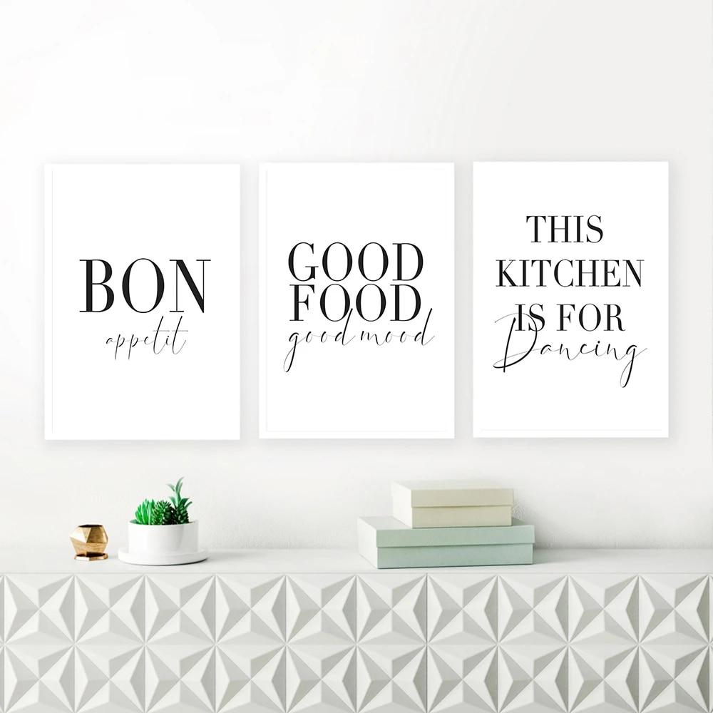 Minimalist Good Food Good Mood Bon Appetit Quotes Canvas Painting ...