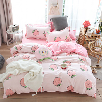 denisroom Cartoon peach bed linen cute bed duvet cover set girl bed sheets and pillowcases white WO87#
