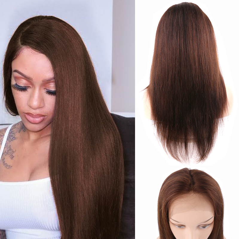 Brazilian Pre Plucked 13x4 Lace Front Human Hair Wigs 4 Medium Brown Straight Lace Wigs 150% Density Remy Hair Wig KEMY HAIR