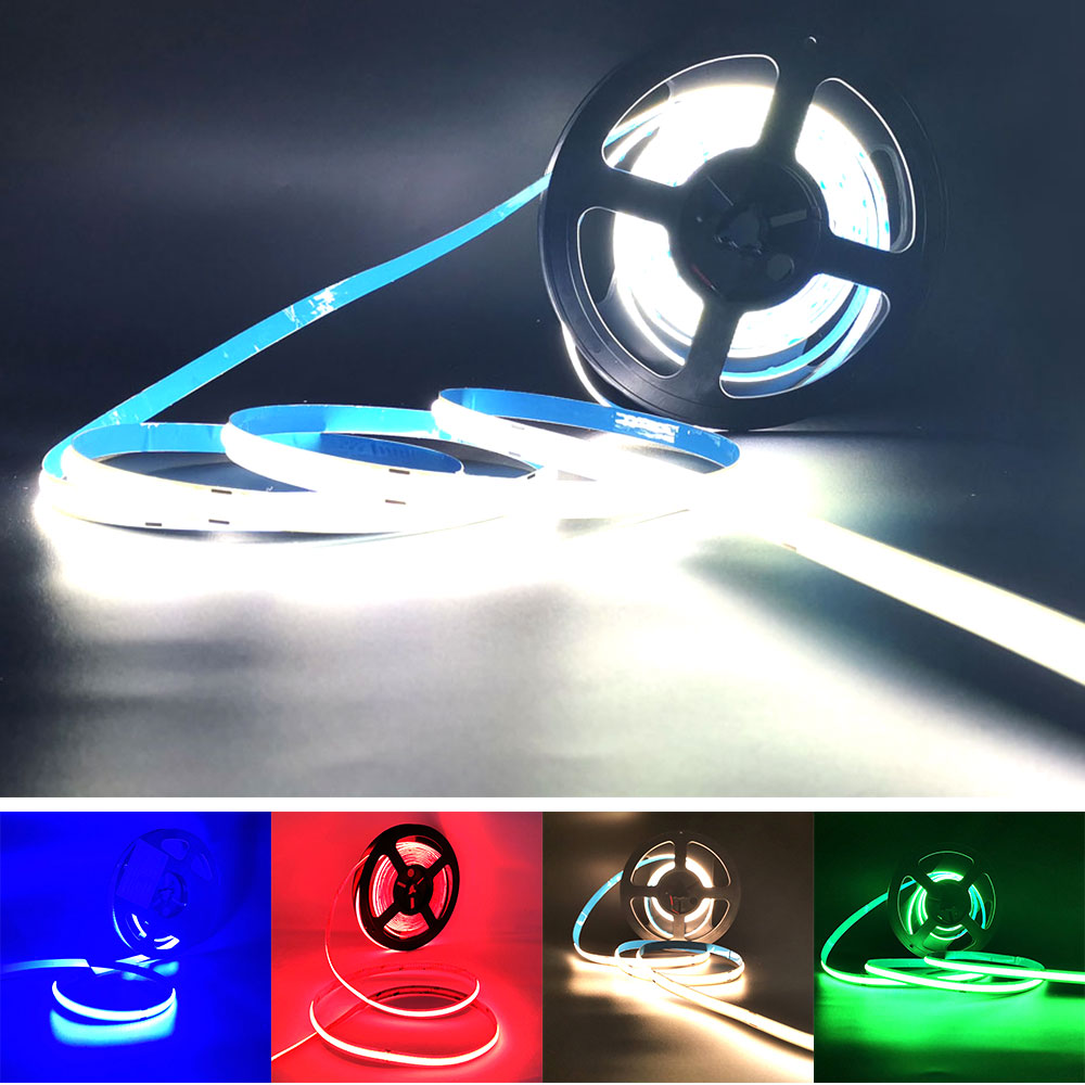 Soft COB Strip LED Light Bar FOB 0.5m 1m 2m 3m 4m 5m Flexible LED Strips Lamp Bulb 350 LEDs/M Blue Red Green Warm Cool White