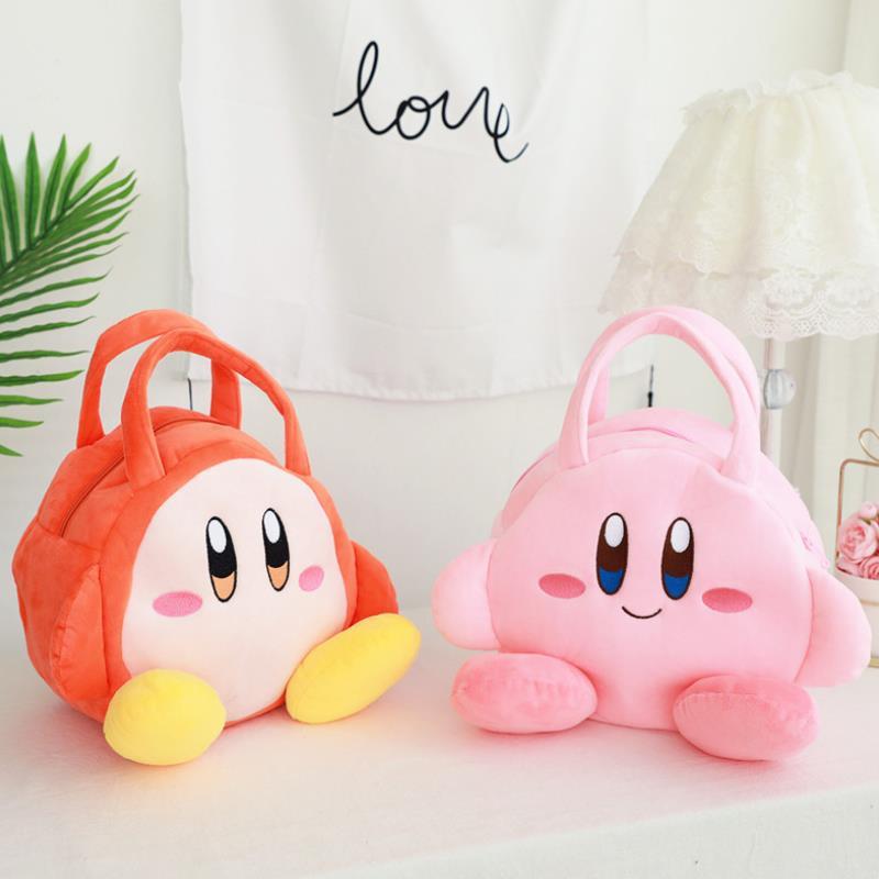 1pc New Cartoon Lovely Star Kirby Small Bag Handbag Cosmetic Bag Plush Doll Lunch Box Bag Plush Toys For Kids Girl Gift