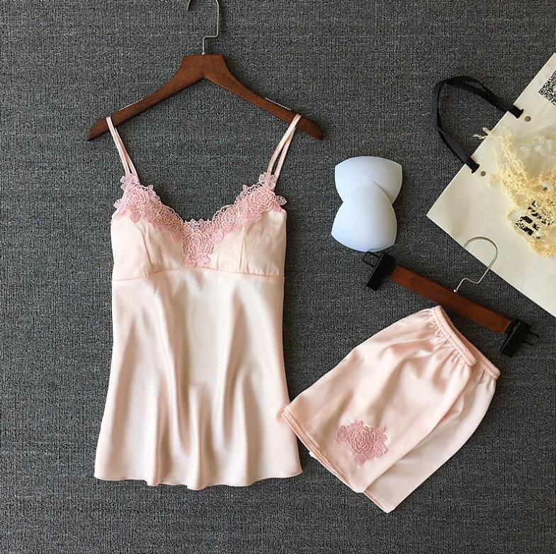 Pajamas Sets Silk Women Nightgowns Sexy Ladies Satin Nightwear Women Robe Nighties Sleepwear Shorts Pyjama Summer Vs Pink Sleep
