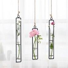 Железная стеклянная ваза для гидропоники горшок цветочный контейнер настенная подвесная ваза для цветов Домашнее Скандинавское украшение для дома