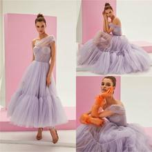 Light Purple Cocktail Dresses One Shoulder Tulle Ankle Length Cheap Prom Dress Custom Made Homecoming Gowns
