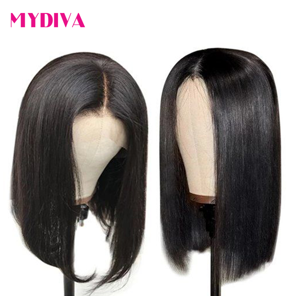 Brazilian Straight 4X4 Lace Closure Wig Short Human Hair Wigs Bob Lace Front Wigs Natural Hairline Lace Front Human Hair Wig Rem
