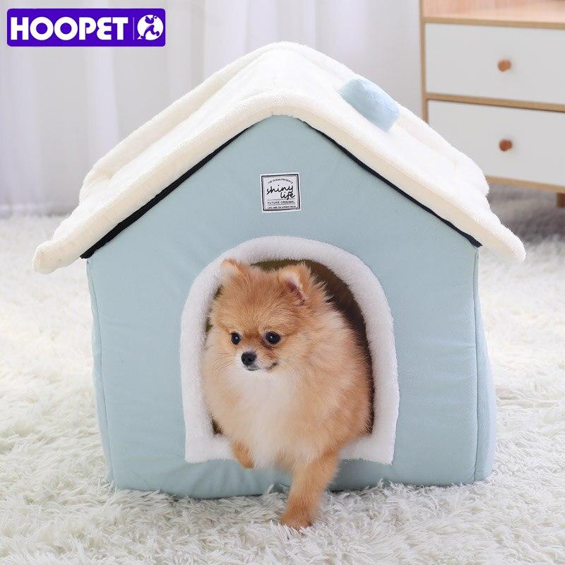 Домашний теплый домик для собак HOOPET, домик для домашних питомцев, домик для кошек, гнездо для кроликов, моющийся съемный коврик, уютная спаль...