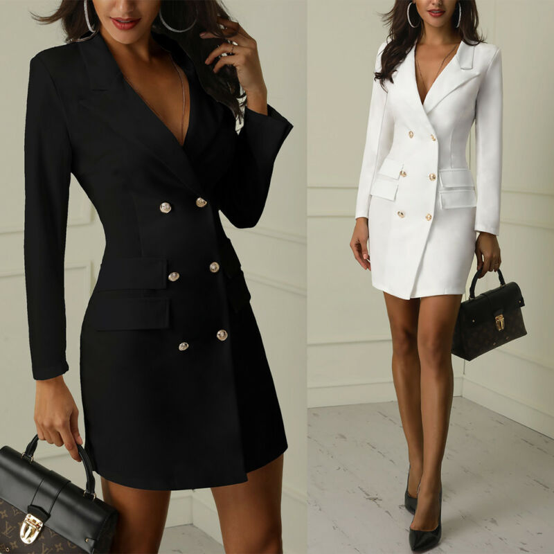 Elegant Women's Jacket OL Fashion Blazer Dress V Neck Formal Business Work Party Sheath Tunic Pencil Mini Dress Autumn Coat