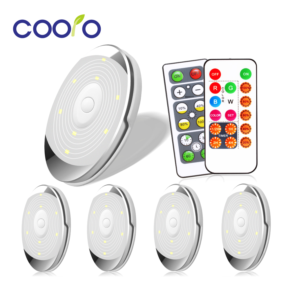 Dimmable Lighting LED Battery Puck Lights With Remote Control Touch Sensor Under Cabinet Lights For Kitchen Wardrobe Closet Lamp