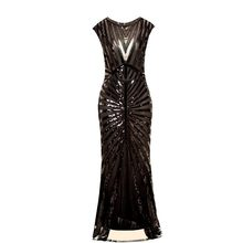 Frauen 1920s Great Gatsby Kleid Lange 20s Flapper Kleid Vintage O Neck Sleeveless Backless Maxi Party Kleid für prom Cocktail(China)