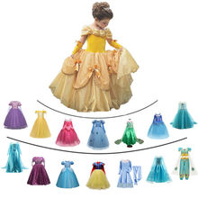 Fancy Girl Princess Dresses Sleeping Beauty Jasmine Rapunzel Belle Ariel Cosplay Costume Elsa Anna Sofia Children Party Clothes(China)