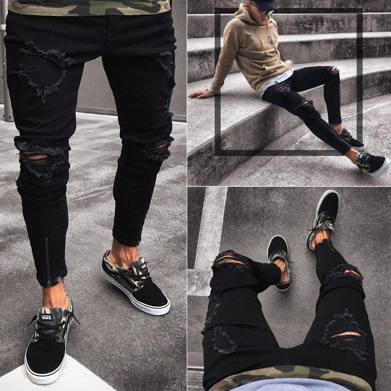 Mens Cool Designer Brand Black Jeans Skinny Ripped Destroyed Stretch Slim Fit Hop Hop Pants With Holes For Men S-4XL