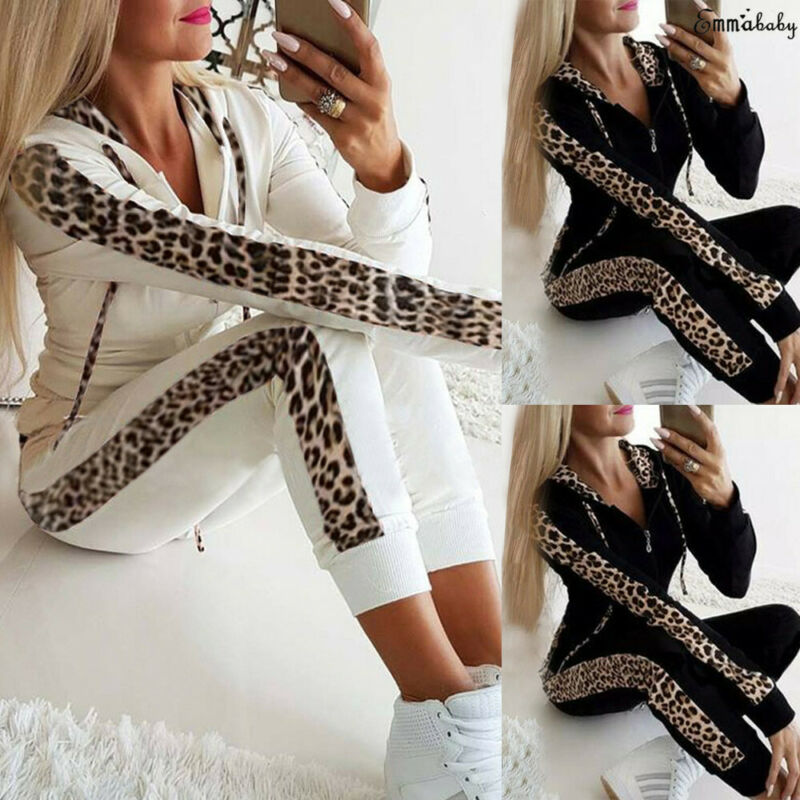 Women Autumn Sport Yoga Set Long Sleeve Leopard Print Hooded Sweatshirt Long Pants Outfit Workout Gym Fitness Athletic Tracksuit image