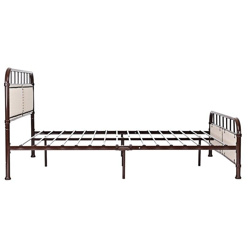 Queen Size Metal Bed Frames Platform Bed Upholstered Panel Headboard Footboard Bedroom Furniture HW59207