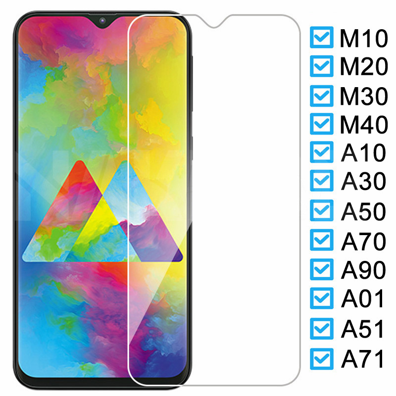 9H Protective Glass On The For Samsung Galaxy A10 A30 A50 A70 A90 M10 M20 M30 M40 A01 A51 A71 Screen Tempered Glass Film Case