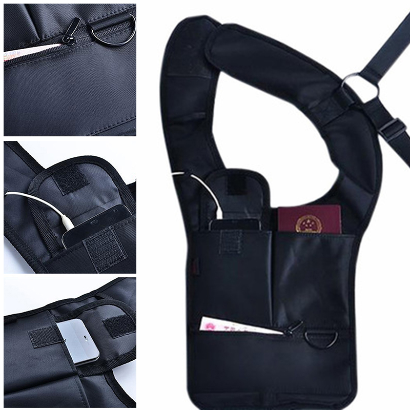 Shoulder Holster Armpit Bag Anti-theft Security Concealed Pack For Mobile Phone Tablets A66