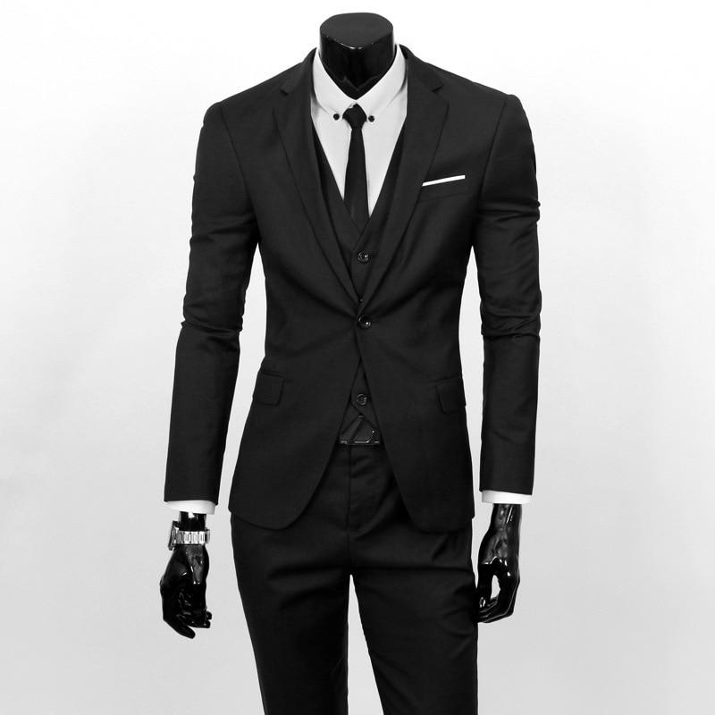Suit Men Three-piece Set Business Formal Wear Small Suit Korean-style Slim Fit Best Man Groom Marriage Formal Dress