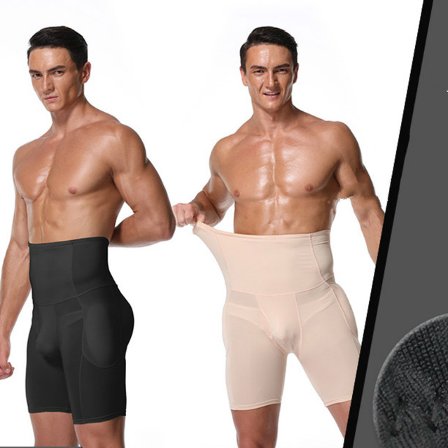 Men Slimming Panty High Waist Tummy Control Butt Lifter Butt Enhancer Boxer Shorts with A Hole In The Front Mens Waist Trimmer